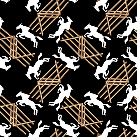 White Jumping Horses on Black fabric by eclectic_house on Spoonflower - custom fabric