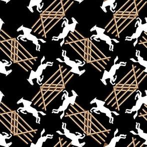 White Jumping Horses on Black