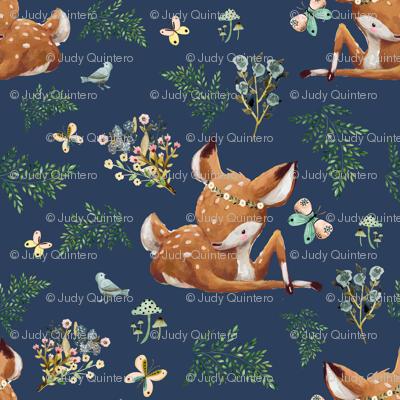 """1.5"""" Boho Botanicals Deer Mix & Match 2 - Dark Blue"""