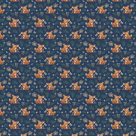 "1.5"" Boho Botanicals Deer Mix & Match 2 - Dark Blue fabric by shopcabin on Spoonflower - custom fabric"