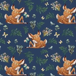 "4"" Boho Botanicals Deer Mix & Match 2 - Dark Blue"