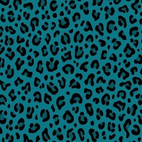 ★ LEOPARD PRINT in TEAL BLUE ★ Small Scale / Collection : Leopard spots – Punk Rock Animal Print