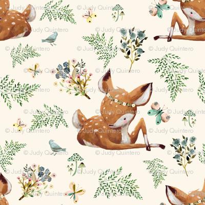 "8"" Boho Botanicals Deer Mix & Match 2 - Ivory"