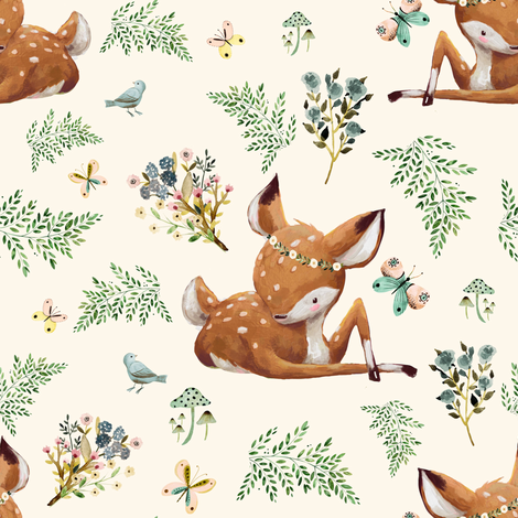 "8"" Boho Botanicals Deer Mix & Match 2 - Ivory fabric by shopcabin on Spoonflower - custom fabric"
