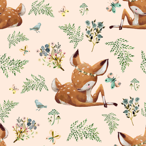 "8"" Boho Botanicals Deer Mix & Match 2 - Peach fabric by shopcabin on Spoonflower - custom fabric"