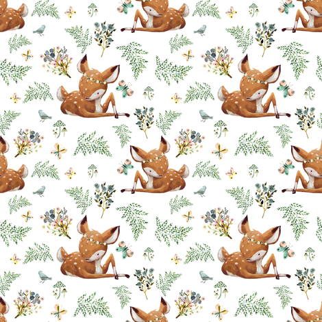 "4"" Boho Botanicals Deer Mix & Match 2 - White fabric by shopcabin on Spoonflower - custom fabric"
