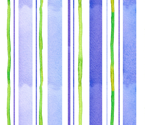 Periwinkle and Lime Stripe fabric by countrygarden on Spoonflower - custom fabric