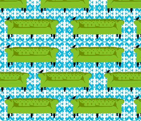 Tufted Tweets Couches Green fabric by lauriewisbrun on Spoonflower - custom fabric