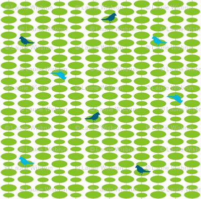 Tufted Tweets Birds Wire Green