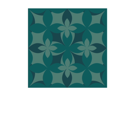 mono.floral.teal fabric by rquill on Spoonflower - custom fabric