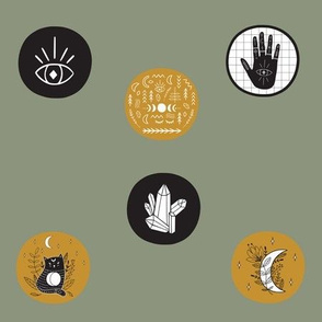 Astrology Hands and Symbols in Polka Dots