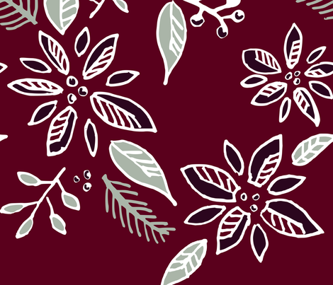 Poinsettias fabric by amy_maccready on Spoonflower - custom fabric