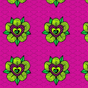 pink and green flower wave pattern
