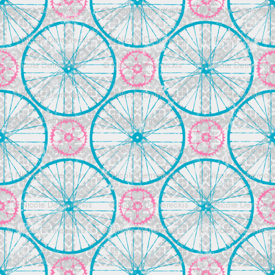 For the love of Cycling Grey Blue Pink