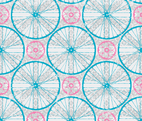 For the love of Cycling Grey Blue Pink fabric by wickedrefined on Spoonflower - custom fabric
