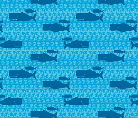 Dont be Crabby Whales Blue fabric by lauriewisbrun on Spoonflower - custom fabric