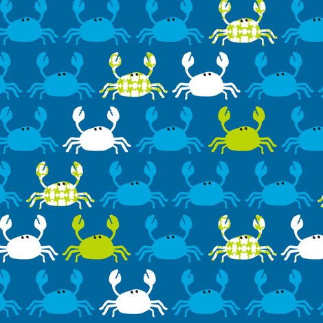 Dont be Crabby Crabs Blue fabric by lauriewisbrun on Spoonflower - custom fabric