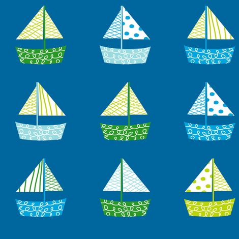 Dont be Crabby Boats Blue fabric by lauriewisbrun on Spoonflower - custom fabric