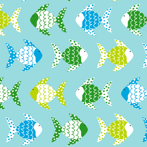 Dont be Crabby Fish Blue fabric by lauriewisbrun on Spoonflower - custom fabric