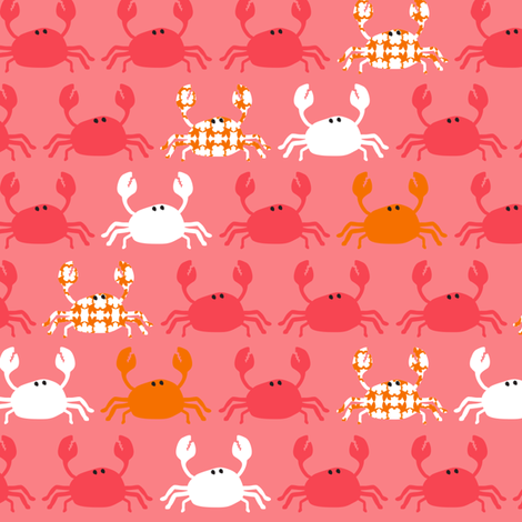 Dont be Crabby Crabs Pink fabric by lauriewisbrun on Spoonflower - custom fabric