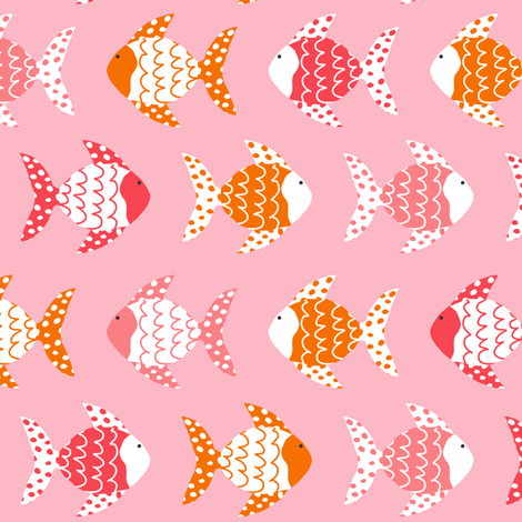 Dont be Crabby Fish Pink fabric by lauriewisbrun on Spoonflower - custom fabric