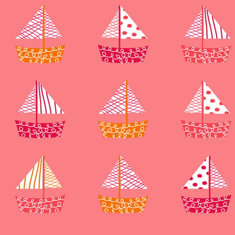 Dont be Crabby Boats Pink fabric by lauriewisbrun on Spoonflower - custom fabric