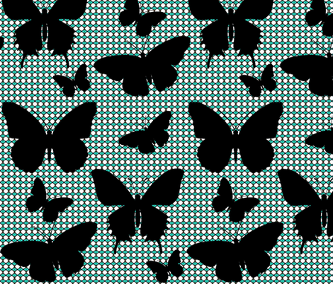 Flutter Screen/ black butterfly large silhouette  fabric by franbail on Spoonflower - custom fabric