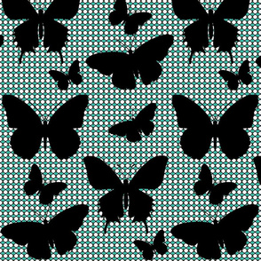 Flutter Screen/ black butterfly large silhouette