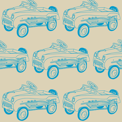 Nifty Fifties Child's Pedal Car sketch fabric by edsel2084 on Spoonflower - custom fabric