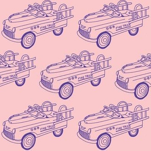 Nifty Fifties Child's Fire Truck Pedal Car (purple on pink)