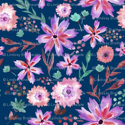 Wildflower Summer in Midnight - LARGE