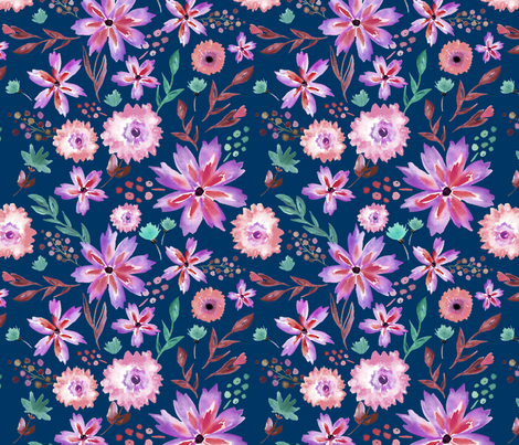 Wildflower Summer in Midnight - LARGE fabric by sugarfresh on Spoonflower - custom fabric