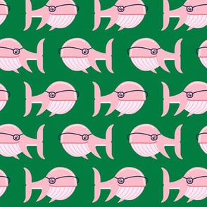 hipster whale (pink on green)