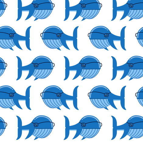hipster whale (blue on white) fabric by littlearrowdesign on Spoonflower - custom fabric