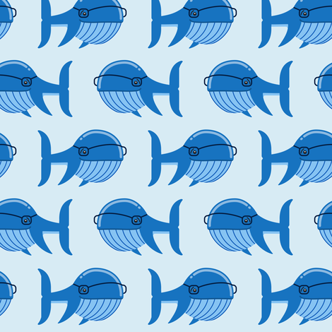 hipster whale (blue on blue) fabric by littlearrowdesign on Spoonflower - custom fabric