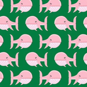 whale (pink on green)