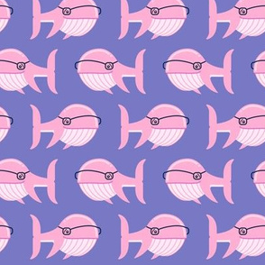 hipster whale (pink on purple)