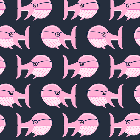 hipster whale (pink on dark blue) fabric by littlearrowdesign on Spoonflower - custom fabric