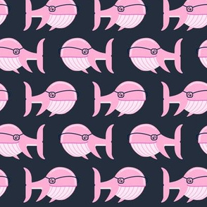 hipster whale (pink on dark blue)