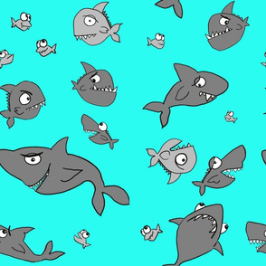 Sharky sharks on aqua