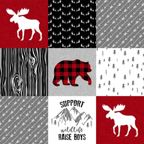 Support wildlife, raise boys - Wholecloth Cheater quilt