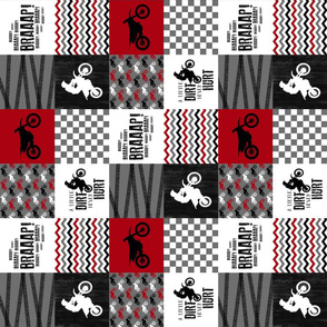 3 inch - Motocross//A little dirt never hurt - Red - Wholecloth Cheater Quilt - Rotated