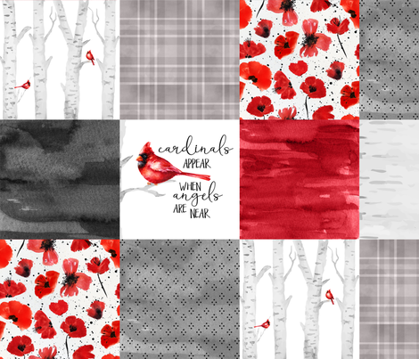 Cardinals//Angels are near - Wholecloth Cheater Quilt fabric by longdogcustomdesigns on Spoonflower - custom fabric
