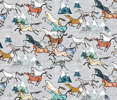 Wild Bush Horses (silver) MED fabric by nouveau_bohemian on Spoonflower - custom fabric