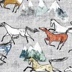 Wild Bush Horses (silver) MED