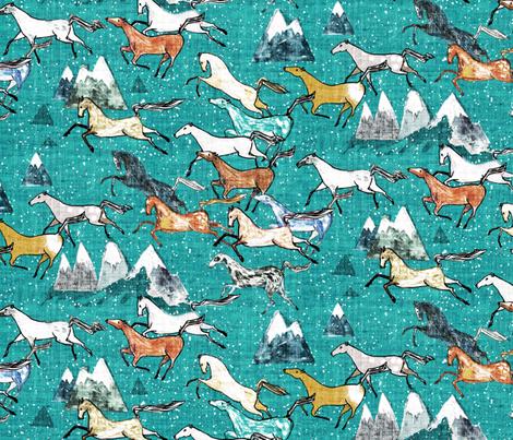 Wild Bush Horses (teal) MED  fabric by nouveau_bohemian on Spoonflower - custom fabric