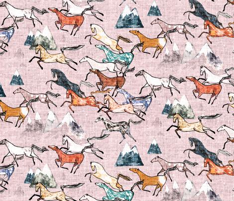 Wild Bush Horses (blossom) MED fabric by nouveau_bohemian on Spoonflower - custom fabric