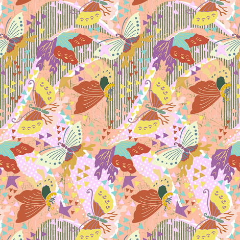 butterflies apricot fabric by susiprint on Spoonflower - custom fabric