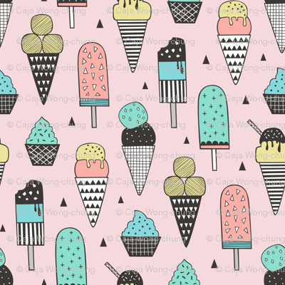 Ice Cream Geometric Triangles on Pink
