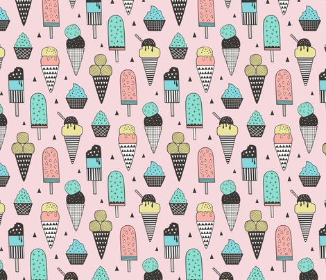 Ice Cream Geometric Triangles on Pink fabric by caja_design on Spoonflower - custom fabric